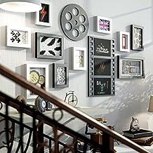 Conjunto de 10 marcos, marcos de fotos de madera de pino Marcos de cuadros combinación de fondo Pared de los cuadros de pared para salón / con imágenes ...