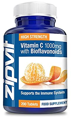 Vitamin C 1000mg with Bioflavonoids 200 Tablets by Zipvit | Supports the Immune System | Contributes a reduction in Tiredness and Fatigue from Zipvit
