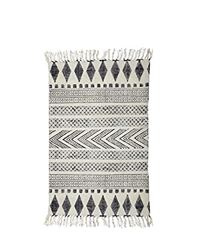 Rug, Block, grey/black, 90x200 cm, 100%