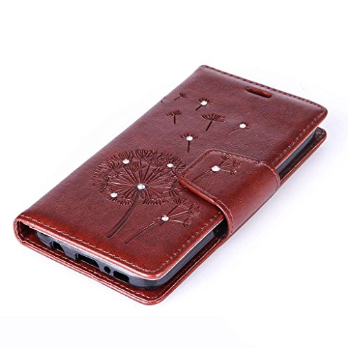 Uming® Muster Druck PU Kasten Fall Holster Abdeckung Hülle Case ( Diamond Embossing Dandelion Black - für IPhone6SPlus IPhone 6SPlus 6Plus IPhone6Plus ) Artificial Künstlich Flip mit Bracket Standplat Diamond Embossing Dandelion Brown