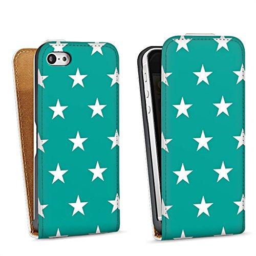 Apple iPhone 5s Housse étui coque protection Polka étoiles Turquoise Motif Sac Downflip blanc