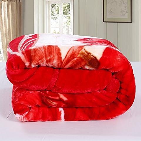BDUK Encajes Raschel manto rojo de invierno de boda con una capa doble de otoño e invierno y gruesas mantas y desdeñoso de despegue Peso 3,3 kg 200*230 cm.