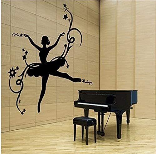 Wandsticker Jhpingwandaufkleber Schöne Ballerina Wandaufkleber Kunst Vinyl Wandtattoo Kind Mädchen Schlafzimmer Room Home Decor Wandmalerei 61X61 Cm -