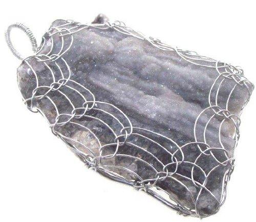 The gem tree druzy calcedonio agata filo avvolto ciondolo 1