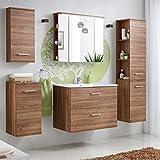 Badmöbel Set 'Marisa 80' Badezimmerschrank 6 tlg Waschbecken Waschtisch Spiegelschrank