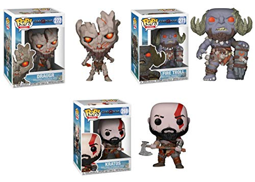 FunkoPOP God of War Playstation 4: Draugr + Fire Troll + Kratos – Stylized Video Game Vinyl Figure Bundle Set