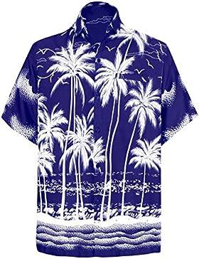 *La Leela* Regular Fit Campo Hawaiano Pulsante Maniche Corte degli Uomini della Camicia Hawaiana Giù Nera