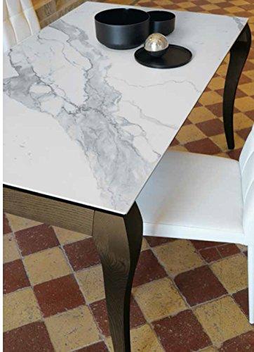 Friulsedie Table Extensible T86 Victor 160 x 90 Ultra Jambes hêtre laqué Brillant Blanc Plan keramic