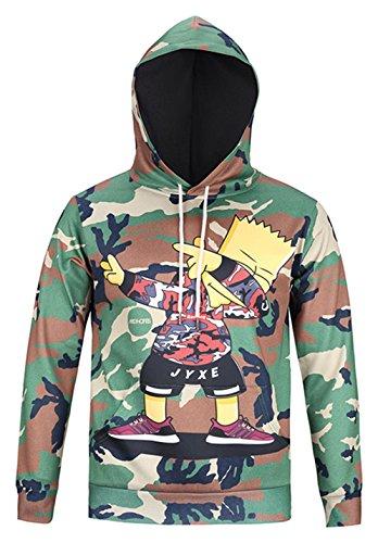 Jeans-print-sweatshirt (Pizoff Unisex Hip Hop Sweatshirts druck Kapuzenpullover mit Farbkleks 3D Digital Print camouflage tarnungsmuster, AG001-04, Gr. M)