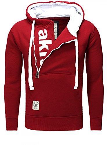 AKITO TANAKA Herren Sweatshirt 18143 Sweater Pullover mit Kapuze versetzter Reißverschluss slim fit kontrast look Rot / Weiß