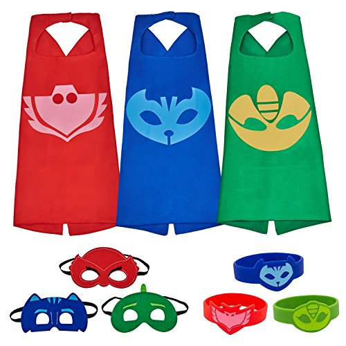 (Letop 3 Capes und Masken für Kinder - Halloween Kostüm (3 Pack with Bracelet))