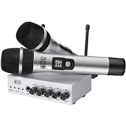 TONOR UHF Drahtloses Mikrofon mit Bluetooth-Empfänger, Kabelloses Mikrofon-Kit aus Metall, Einfache Verbindung zu Phone/Ipad/Laptop für Karaoke, Outdoor-Aktivitäten, Konferenz, 24 Meter Reichweit