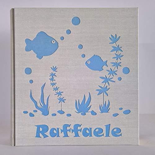 Album fotografico in tela di lino pesci e fondo marino con nome e colore personalizzabile + scatola nascita battesimo compleanno comunione vacanze