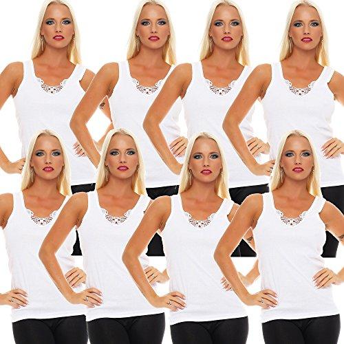 8er Pack Damen Unterhemd mit Spitze 427