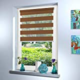 Doppelrollo nach Maß, hochqualitative Wertarbeit, alle Größen und 18 Farben verfügbar, Duo Rollo, Rollo nach Maß, für Fenster und Türen, Klemmfix ohne Bohren (100cm Höhe x 70cm Breite / Braun)
