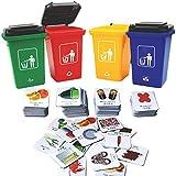 deAO Recyclage et Classification des Déchets Jeu de Société Set de Conteneurs Activité Éducative des Enfants Jeu de Famille