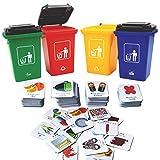 deAO Reciclaje y Clasificación de Desechos Juego de Mesa Set de Contenedores Actividad Educativa...