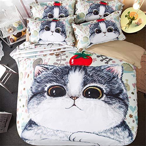 4 Sätze Bettwäsche, Cartoon-Druck 6Ft Paar Doppelbett Bettbezug Bettlaken Studentenwohnheim Single 5Ft Bett,7,5ftAstyle (Mickey-mouse-twin Bettwäsche)