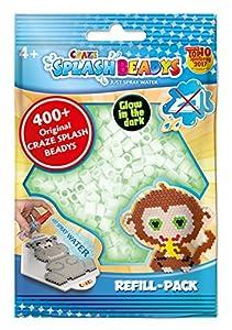 CRAZE- Cuentas de fusibles Fuse Splash BEADYS Paquete de Recarga Craft Beads Conjunto Resplandor Blanco Brillante en la Oscuridad 11874, Color