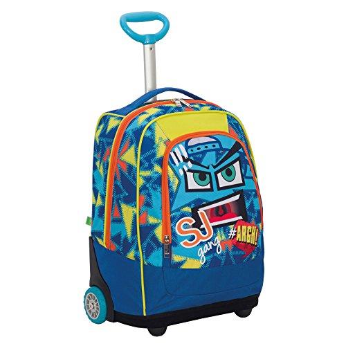 Big trolley sj face boy - blu - 33 lt - 2in1 zaino  con spallacci a scomparsa - scuola & viaggio