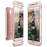 CE-Link Funda Samsung Galaxy J5 2017, Carcasa Fundas para Samsung Galaxy J5 2017, 3 en 1 Desmontable Ultra-Delgado Anti-Arañazos Case Protectora - Oro Rosa