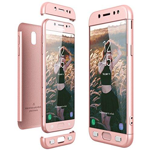 Funda Samsung Galaxy J5 2017, CE-Link Carcasa Fundas para Samsung Galaxy J5 2017, 3 en 1 Desmontable Ultra-Delgado Anti-Arañazos Case Protectora - Oro rosa