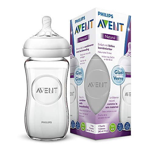 Philips Avent Natural Flasche SCF053/17, 240 ml, naturnahes Trinkverhalten, Anti-Kolik-System, aus Glas, 1er Pack -