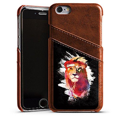 Apple iPhone 5 Housse étui coque protection Lion Lion Street Art Étui en cuir marron