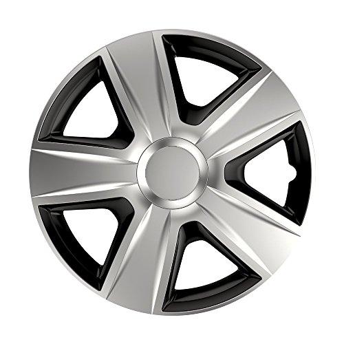 CM DESIGN 14 Zoll Bicolor Radzierblenden Esprit DC (Silber/Schwarz mit Chromring). Radkappen passend für Fast alle OPEL wie z.B. Corsa C
