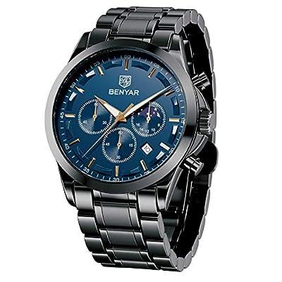 BENYAR Reloj de Pulsera Hombre de Negocios | Reloj de Cuarzo analógico Chronographe en Acero Inoxidable 30M Resistente al Agua y a los arañazos