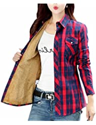 today-UK Women Long Sleeve Check Fleece Lined Buttons Blouse Shirt