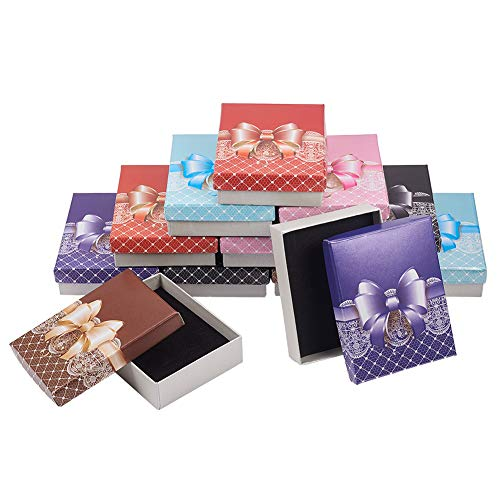 nbeads 12 stücke Bogen Geschenkboxen Karton Schmuckschatulle Halskette Box Ohrring Box für Schmuck Präsentation (Und Bögen Boxen)