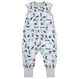 TupTam Unisex Babyschlafsack mit Beinen Unwattiert, Farbe: Fußballspieler Grau/Blau, Größe: 80-86