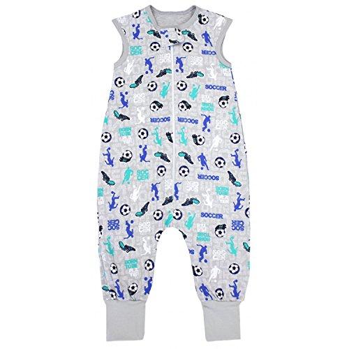 TupTam Unisex Babyschlafsack mit Beinen Unwattiert, Farbe: Fußballspieler Grau/Blau, Größe: 104-110