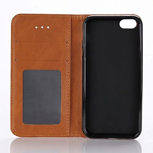 inShang Hülle für iPhone SE, SUPER PU Leder Tasche Hülle Skins Etui Schutzhülle Ständer Smart Case Cover für iPhone SE Cell Phone Displayschutzfolie Bildschirmschutzfolie, Handy , Crazy Horse pattern 2 brown