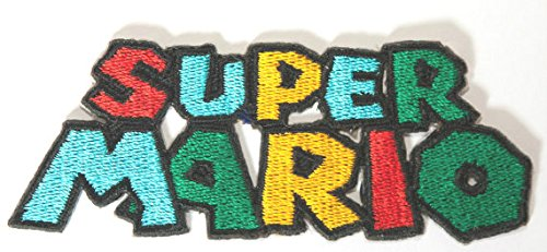 Super Mario Logo Patch Embroidered Iron on Badge Aufnäher Kostüm Mario Kart/SNES/Mario World/Super Mario Brothers/Mario Allstars Cosplay (Mario Brothers Goomba Kostüm)
