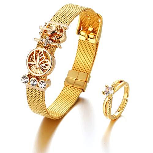 elegantes Mesh Armband mit verschiedenen Anhängern und Damenring - Charmband in Silber, Rosegold und Gold - Vielseitiges Bracelet Set mit schmalem Diamant Ring für Frauen (gold, Edelstahl)