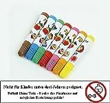 7 Stoffmalstifte Textilmarker für Kinderhände Braun Blau Grün Rot Pink