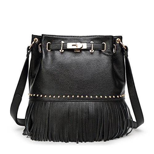 QPALZM Einfache Feste Mode Quaste Pumping Taschen Retro Schulter-Rucksack Black