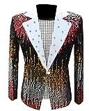 CuteRose Men Regular Fit Sequin Glitter One Button Dress Suit for Show 1 S