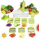 Mandoline 9 en 1 Multifonction Professionnelle Couper les Legumes Fruit Citron Vert 7 Lames Différentes Couteau en Acier Inoxydable Utilisation Rapide et Facile à Nettoyer de WEINAS