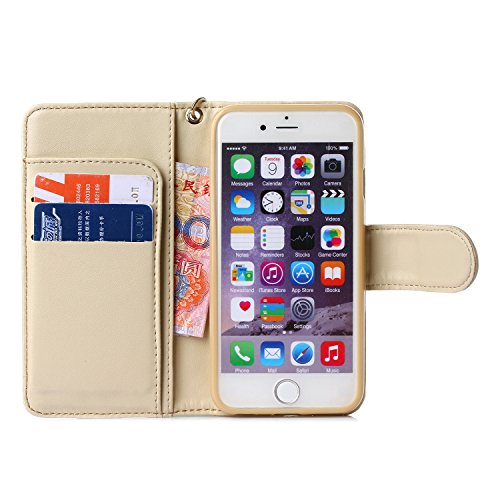 iPhone 6S Plus (5.5 inch) Housse, SHANGRUN [Card Slot camélia Series] Lanyard Strap Sangle Housse Etui en cuir Avec Wallet Folio Flip Housse étui Wallet Case Cover pour Apple iPhone 6 Plus / 6S Plus 5 Beige