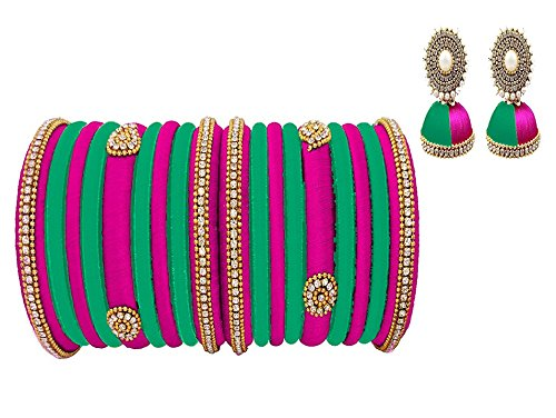 d84f457c5 31% OFF on Hot Selling Pink-Lux Green Silk Thread Bangles And Earrings Set  of 18 Bangles And Jhumkas on Amazon | PaisaWapas.com