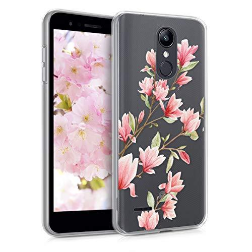 Kwmobile lg k8 (2018) / k9 cover - custodia in silicone tpu per lg k8 (2018) / k9 - backcover cellulare rosa/bianco/trasparente