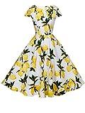 FAIRY COUPLE 1950S Retro Rockabilly Tupfen Kappen Hülsen Abschlussball Kleid DRT019(L,Weiße gelbe Früchte)