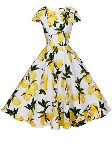 FAIRY COUPLE 1950S Retro Rockabilly Tupfen Kappen Hülsen Abschlussball Kleid DRT019(S,Weiße gelbe Früchte) - Frucht Frauen