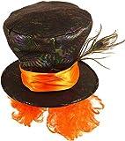 Fancy Me Herren Damen Schwarz Verrückter Hutmacher Alice im Wunderland Feder Kostüm Teeparty Kostüm Outfit Hut Zubehör - One Size
