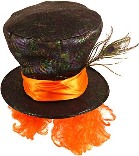 Herren Damen Schwarz Verrückter Hutmacher Alice im Wunderland Feder Kostüm Teeparty Kostüm Outfit Hut Zubehör - One Size (Mad Hatter Hut Mit Haar)