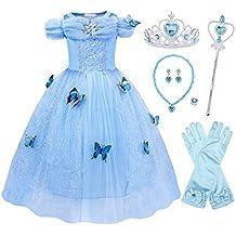 AmzBarley Vestido Traje Niñas Princesa Cenicienta de Tul Fiesta Boda,Infantil Disfraz Frozen+Un