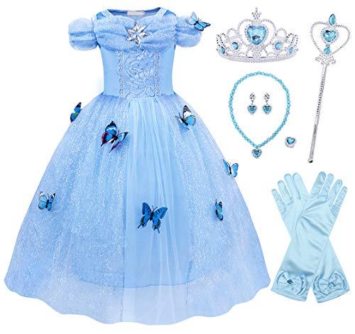 AmzBarley Aschenputtel Kostüm Kinder Mädchen Cinderella Prinzessin Kleid Schick Party Kleider Halloween Karneval Cosplay Geburtstag Ankleiden Kleidung
